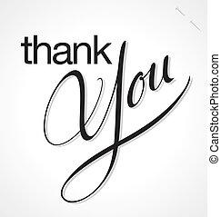 obrigado, mão, lettering, vetorial