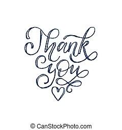 obrigado, mão, lettering.vector, calligraphic, inscrição, branco, experiência.