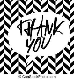 obrigado, message., lettering, ligado, preto branco, chevron, pattern.