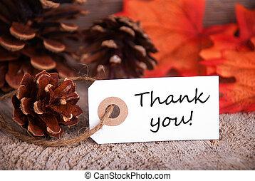 obrigado, outono, etiqueta