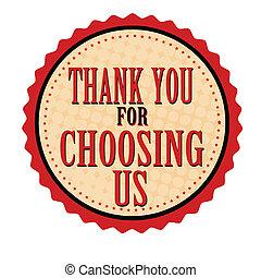obrigado, para, escolher, nós, adesivo, ou, selo
