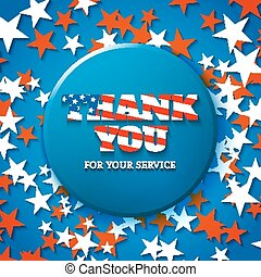 obrigado, para, seu, serviço, militar, apreciação, cartão, com, estrela, fundo