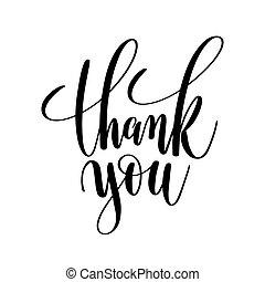 obrigado, preto branco, mão, lettering, inscrição
