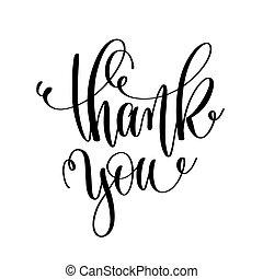 obrigado, -, preto branco, mão, lettering, inscrição, motivatio