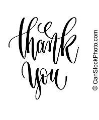 obrigado, -, preto branco, mão, lettering, inscrição, texto