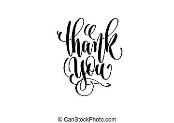 obrigado, preto branco, mão, lettering, positivo, citação