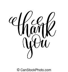 obrigado, preto branco, manuscrito, lettering