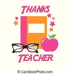 obrigado, professor, cartão, livro, maçã, óculos