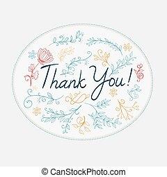 obrigado, saudação, com, doodle, floral, elements., vetorial