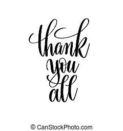 obrigado, tudo, preto branco, mão escrita, lettering
