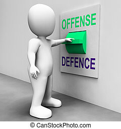 obrona, bronić, atak, witka, offense, albo, widać
