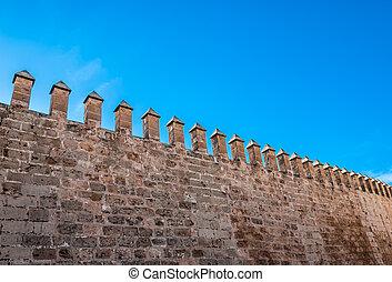 obronny, crenellated ściana, w, palma de majorca, hiszpania