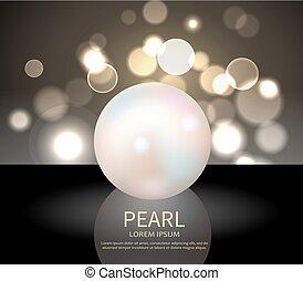 obrovský, neposkvrněný, lesklý, perla, vektor, ilustrace