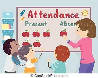 obsługa, stickman, nauczyciel, ilustracja, dzieciaki