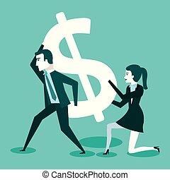 obsadzać kobietę, dolar, handlowy znaczą