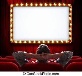 obsadzać posiedzenie, kurtyna, przód, zapalany, czerwony, znak, teatr