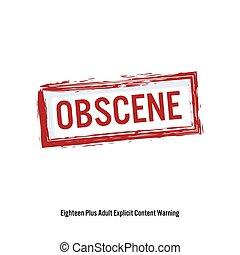 obscene., rojo, parada, signo., edad, restricción, stamp., contenido, para, adultos, only., aislado, blanco, fondo., vector, ilustración