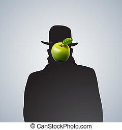 obscure., uomo, silhouette, faccia
