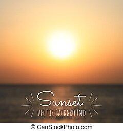 obscurecido, ou, projects., verão, sea., desenho, modelo, amanhecer, vetorial, seu, experiência., bonito, defocused, pôr do sol