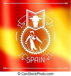 obscurecido, tradicional, bandeira, desenho, fundo, espanhol, corrida., espanha