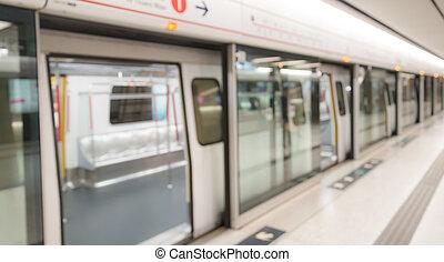 obscurecido, trem metrô