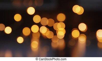 obscurité, lumières, noël, brouillé