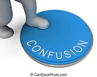 obscuro, inseguro, confusão, botão, confusão, mostra