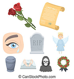 obseque, cérémonie, cimetière, cercueils, priest.funeral, cérémonie, icône, dans, ensemble, collection, sur, dessin animé, style, bitmap, raster, symbole, stockage, illustration.