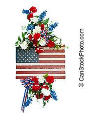 obseque, fleur, coloré, arrangement