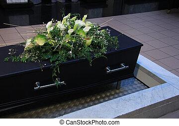 obseque, fleurs, sur, a, cercueil