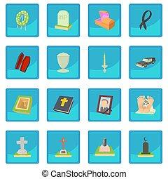 obseque, icône, bleu, app