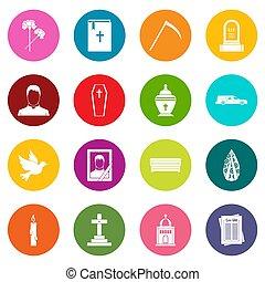 obseque, icônes, couleurs, ensemble