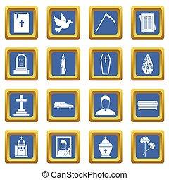 obseque, icônes, ensemble, bleu