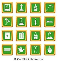 obseque, icônes, ensemble, vert