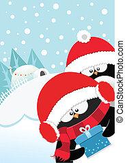 obsequio navidades, penguins'