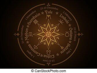observé, solstices, symbole, pentagram, saisonnier, moderne, holidays., celtique, roue, cycle, compas, année, pagans., noms, wiccan, milieu, annuel, beaucoup, festivals, calendrier