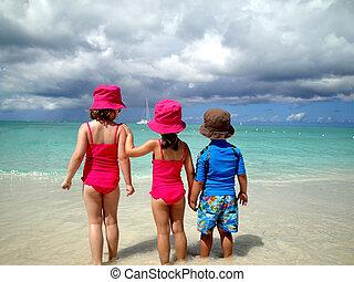 observar, crianças, rolo, ondas