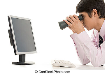 Conceptual image of specialist observing growth of sales