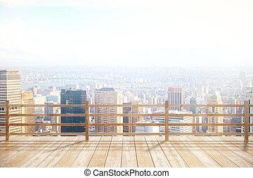 Observation platfrom sunlit city