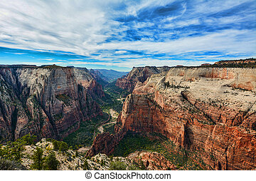 Observation Point in Zion National Park on a cloudy day