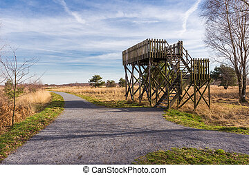 Observation post in nature reserve De Peel in The Netherlands