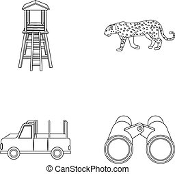 Observation tower for the hunter, leopard, hunting machine, binoculars. African safari set collection icons in outline style vector symbol stock illustration web.