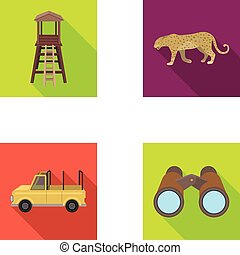 Observation tower for the hunter, leopard, hunting machine, binoculars. African safari set collection icons in flat style vector symbol stock illustration web.