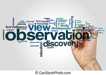 Observation word cloud concept on grey background
