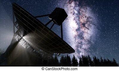 observatoire, astronomique, sous, ciel, stars., nuit, ...