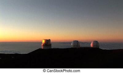 observatoire, coucher soleil, télescope