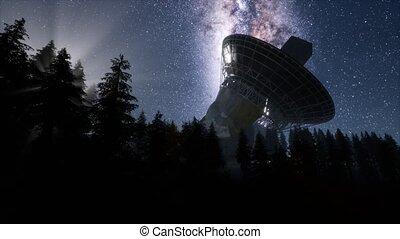 observatoire, hyperlapse, ciel, sous, stars., nuit, ...