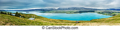 observatoire, zélande, lac, nouveau, tekapo, john, panorama,...