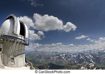 observatorio, midi, pic, pirineos, du, vista
