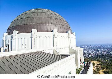 observatory in Griffith park in Los Angeles on a sunny day